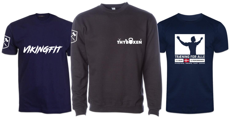 t-shirt og trøje med tekstiltryk